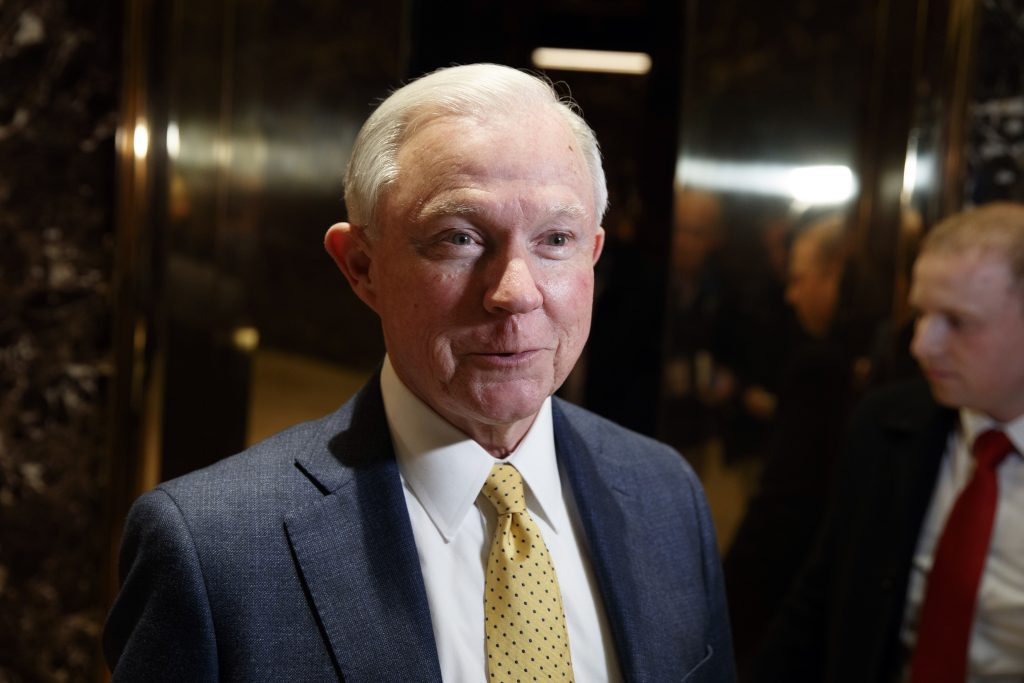 Sen. Jeff Sessions, R-Ala., at Trump Tower in New York on Monday. (AP Photo/Evan Vucci)