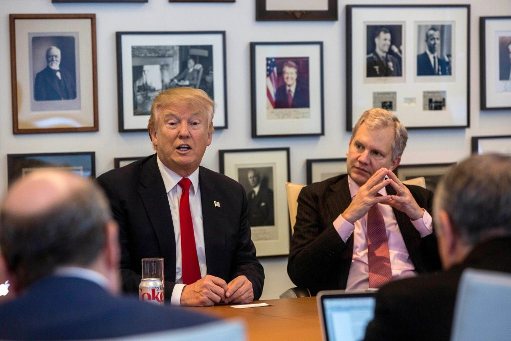 President-elect Donald Trump, left, and New York Times Publisher Arthur Sulzberger Jr., right, at The New York Times building, in New York on Tuesday. (Hiroko Masuike/The New York Times via AP)