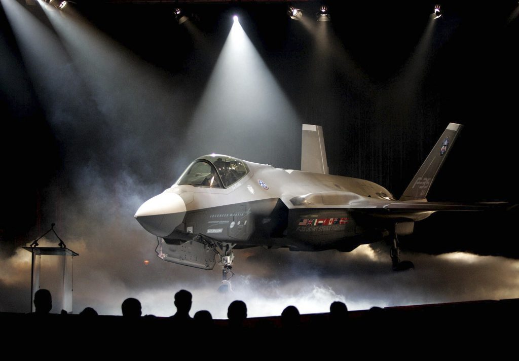 In this 2006 photo, the Lockheed Martin F-35 Joint Strike Fighter is unveiled in a ceremony in Fort Worth, Texas. (AP Photo/LM Ottero, File)