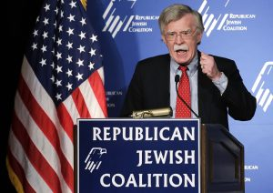 John Bolton speaking for the Republican Jewish Coalition in Las vegas in 2014. (AP Photo/Julie Jacobson)