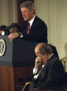 With an emotional James Brady in the foreground, President Clinton speaks at White House Nov. 30, 1993, prior to the signing of the Brady bill. The bill is named after Mr. Brady, who was critically injured from a gunshot wound during the attempted assassination of President Ronald Reagan. (AP Photo/Doug Mills)