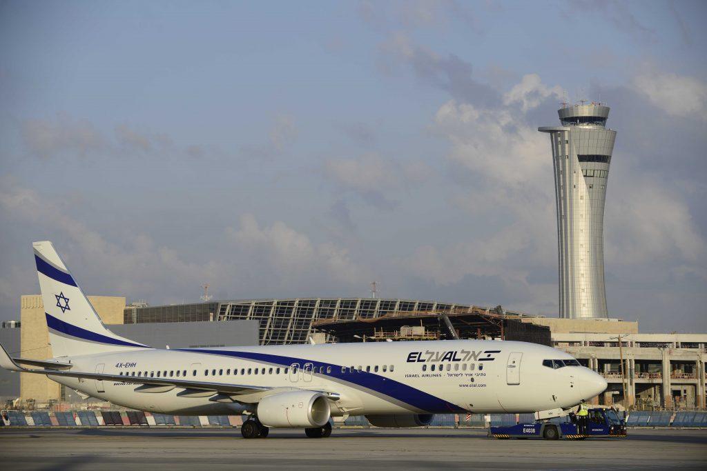An El Al plane at Ben Gurion Airport. (Tomer Neuberg/Flash90)