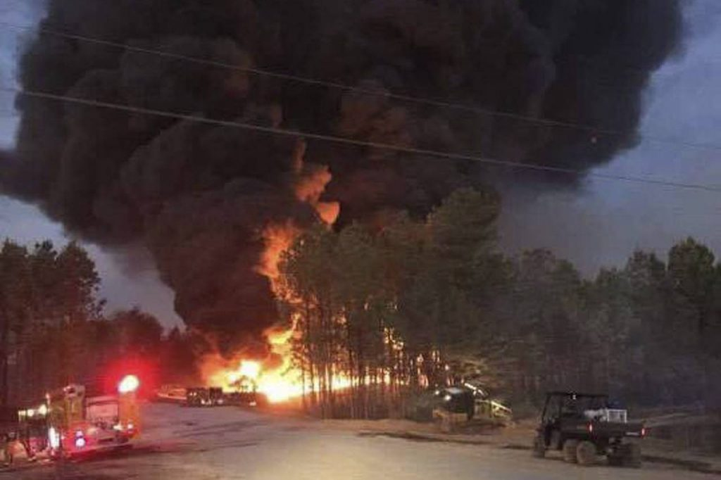 First responders at the scene of Colonial Pipeline Co. explosion and fire in Shelby County, Ala., on Monday night. Gas and diesel prices rose on Tuesday. (REUTERS/ALABASTER FIRE DEPT.)