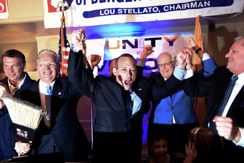 Democrat Josh Gottheimer celebrates his victory Wednesday at a gathering at the Hilton Hasbrouck Heights, NJ. (Viorel Florescu/NJ.com.com via AP)