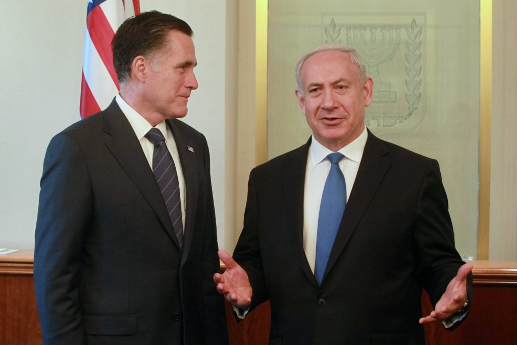 Israel's Prime Minister Benjamin Netanyahu (R) meets with U.S. Republican presidential candidate Mitt Romney in Netanyahu's office in Jerusalem. July 29, 2012. Photo by Marc Israel Sellem/GPO/FLASH90 *** Local Caption *** ??? ????? ??? ?????? ?????? ??????