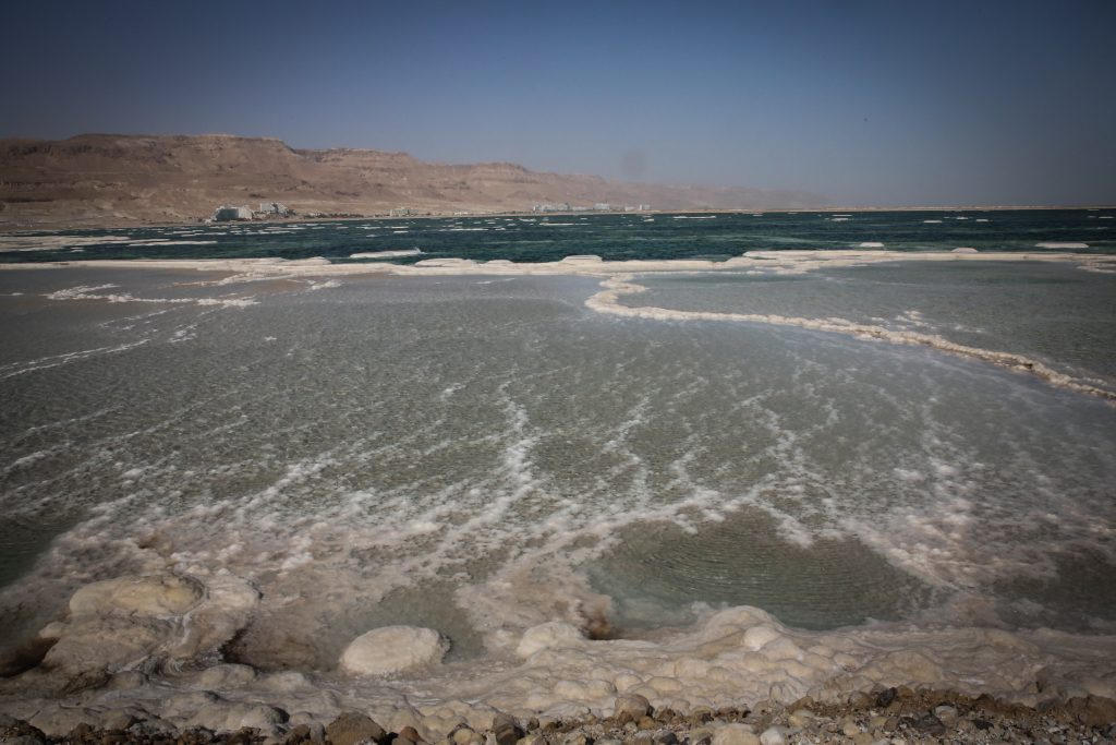 Salt pools in the Dead Sea. (Yossi Zamir/Flash90)