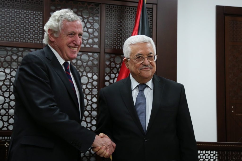 French special envoy to the Mideast Pierre Vimont meets Palestinian President Mahmoud Abbas in Ramallah, earlier this year. (Flash90)