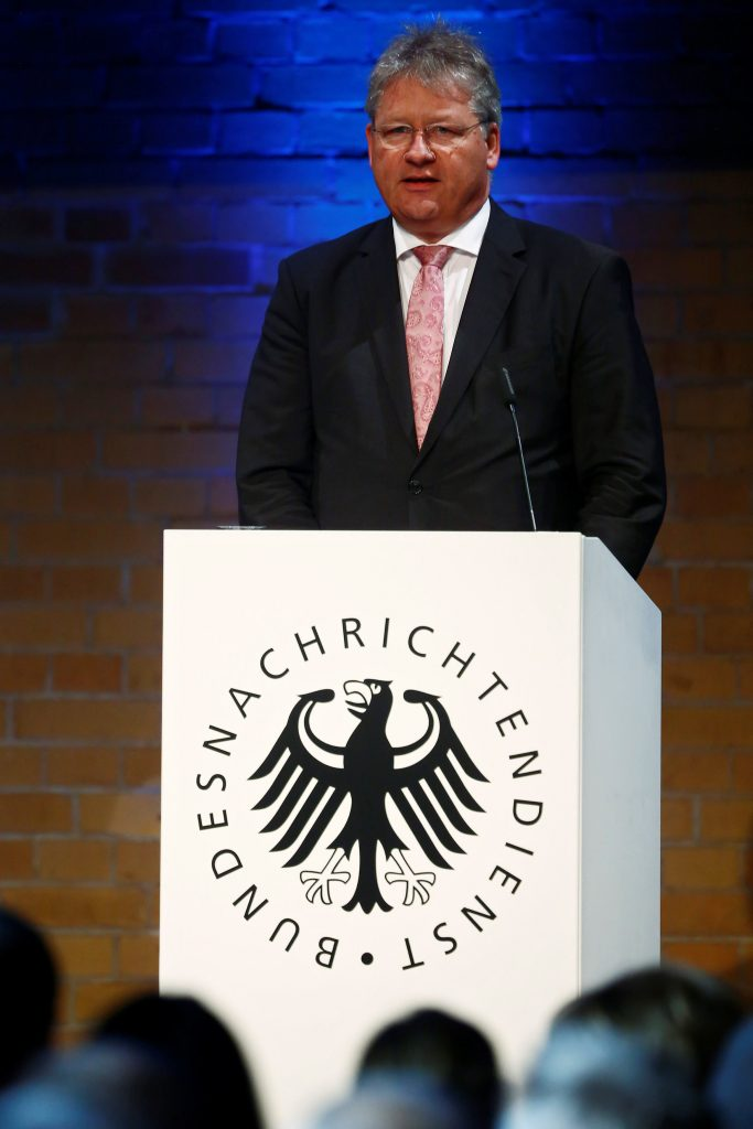 The President of the German Federal Intelligence Agency (BND) Bruno Kahl gives a speech at the 60th anniversary of the founding of the BND in Berlin, Germany, November 28, 2016. REUTERS/Hannibal Hanschke
