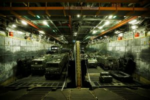 Amphibious armored vehicles used by the Royal Marines are seen inside the British Royal Navy's HMS Bulwark amphibious assault ship docked in Haifa port on Tuesday. (Reuters/Baz Ratner)