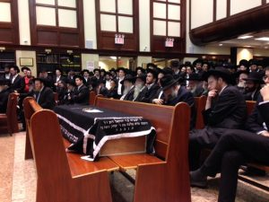 At the levayah on Thursday in Yeshivas Novominsk.