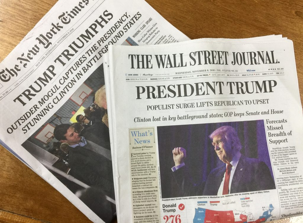 Newspaper coverage Wednesday of Donald trump's victory in the presidential election. (Isser Berg/Hamodia)