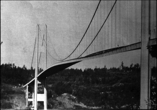 The 1940 Tacoma Narrows Bridge, the first Tacoma Narrows Bridge, was a suspension bridge in the U.S. state of Washington that spanned the Tacoma Narrows strait of Puget Sound between Tacoma and the Kitsap Peninsula.