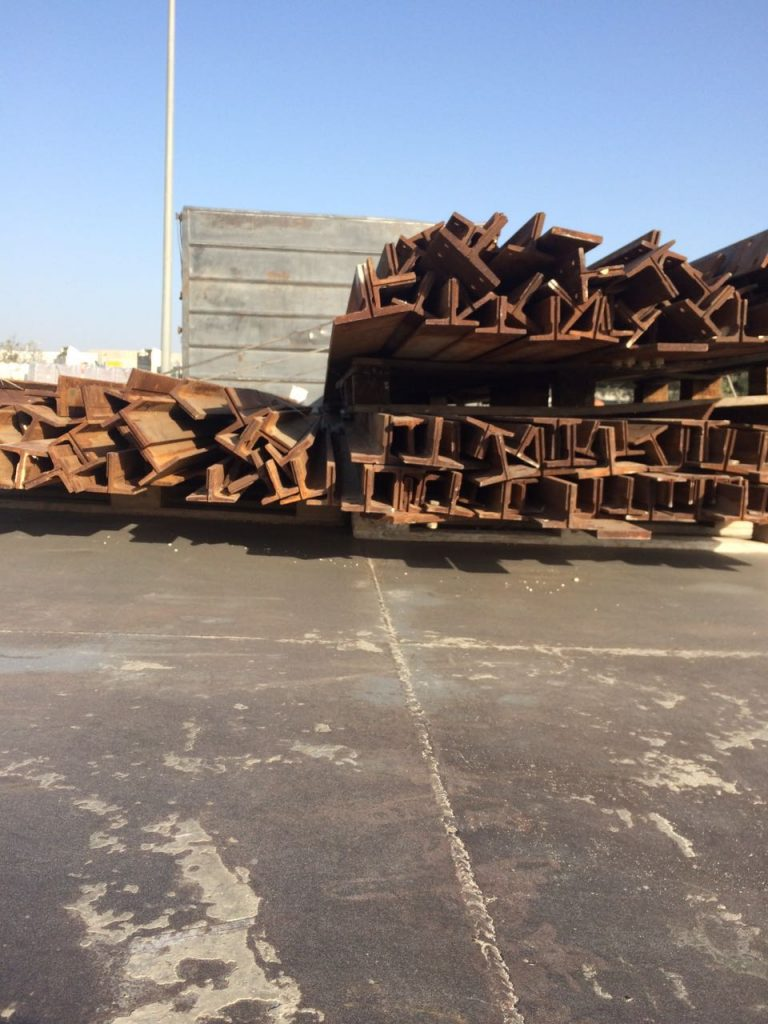 Some of the iron beams seized on the way to Gaza. (COGAT spokesperson)