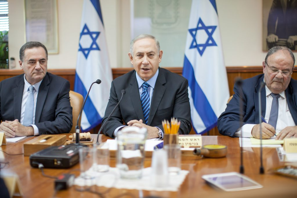 Prime Minister Binyamin Netanyahu leading the weekly Cabinet Meeting on Sunday. (Emil Salman/POOL)