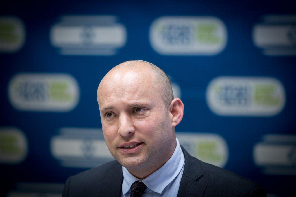 Jewish Home party chairman Naftali Bennett. (Miriam Alster/Flash90)