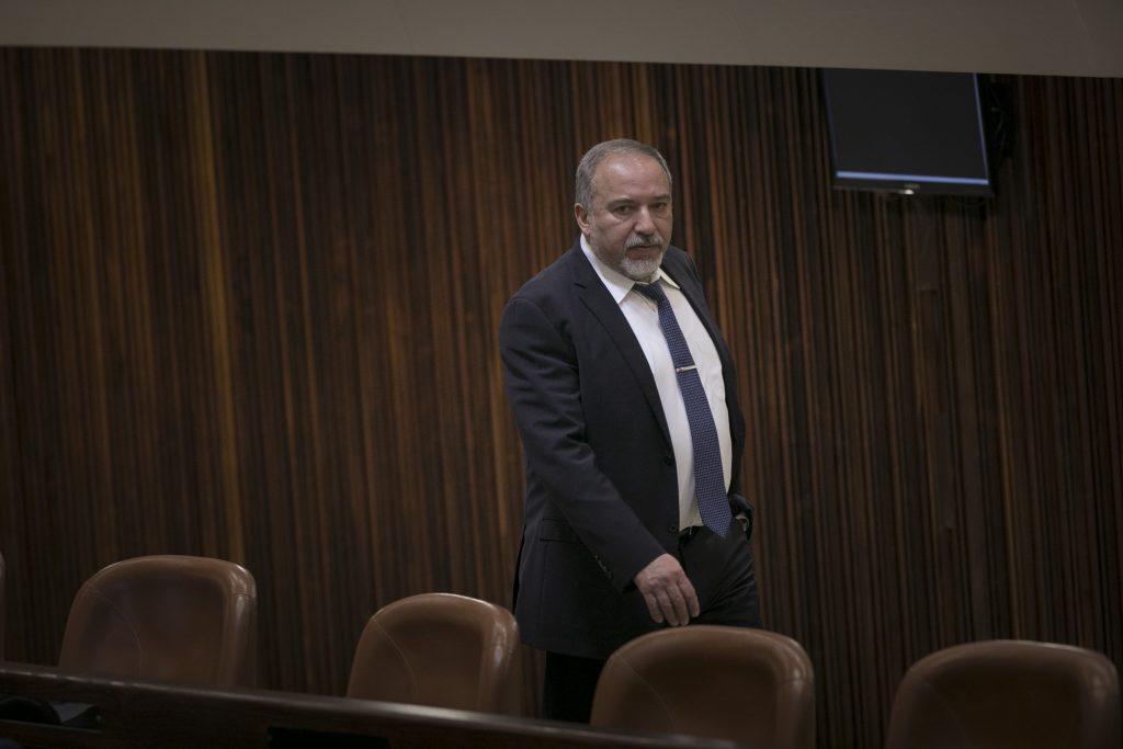 Israeli Minister of Defense Avigdor Liberman. (Yonatan Sindel/Flash90)
