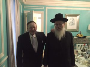 Israeli Health Minister Rabbi Yaakov Litzman on Tuesday with mega-GOP donor Sheldon Adelson in New York. (Hamodia Photo)