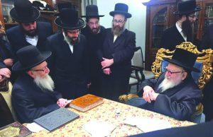 Israeli Health Minister Rabbi Yaakov Litzman on Sunday visited many rebbes in the greater NY area, pictured, Rabbi Litzman receiving a bracha from the Skverer Rebbe, shlita. (Hamodia Photo)