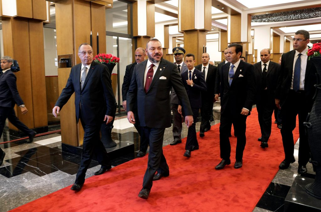 King Mohammed VI of Morocco (2nd L) arrives at the U.N. Climate Change Conference 2016 (COP22) in Marrakesh, Morocco, on Wednesday. (Reuters/Youssef Boudlal)