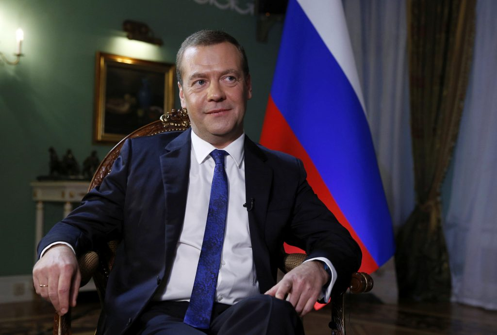 Russian Prime Minister Dmitry Medvedev gives an interview at the Gorki state residence outside Moscow, Russia. (Sputnik/Pool/Dmitry Astakhov via Reuters)