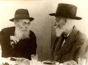 The Chazon Ish (L) with Moreinu Harav Yaakov Rosenheim.