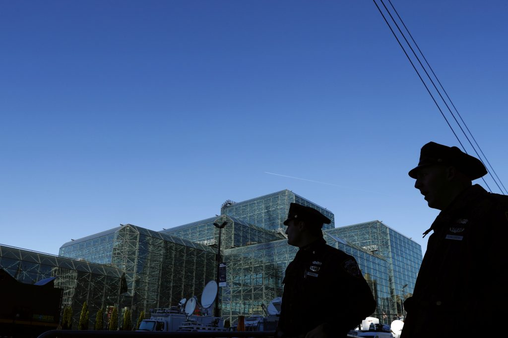 Officers from the New York Police Department provide security outside of the Jacob K. Javits Convention Center, which will be the site of the election night event for U.S. Democratic presidential nominee Hillary Clinton in New York, U.S., November 7, 2016. REUTERS/Lucas Jackson