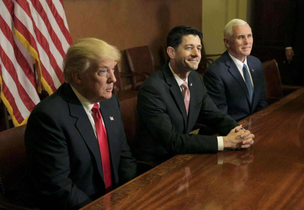U.S. President-elect Donald Trump (L) meets with Speaker of the House Paul Ryan (R-WI) (C) and Vice-President elect Mike Pence on Capitol Hill in Washington, U.S., November 10, 2016.      REUTERS/Joshua Roberts