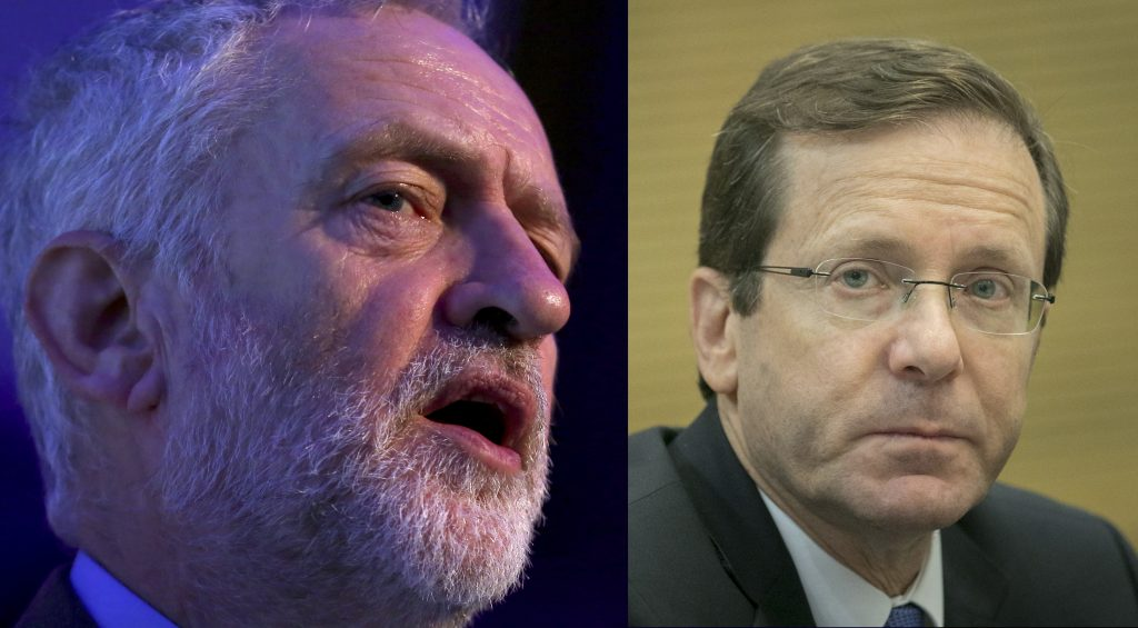 This composite image shows Jeremy Corbyn (L) and Isaac Herzog. (Reuters/Neil Hall; Yonatan Sindel/Flash90)