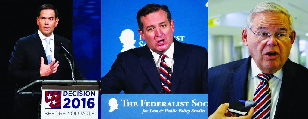 This composite image shows (L-R) Sens. Marco Rubio, Ted Cruz and Bob Menendez. (AP Photo/Wilfredo Lee; Cliff Owen; Mel Evans; File)