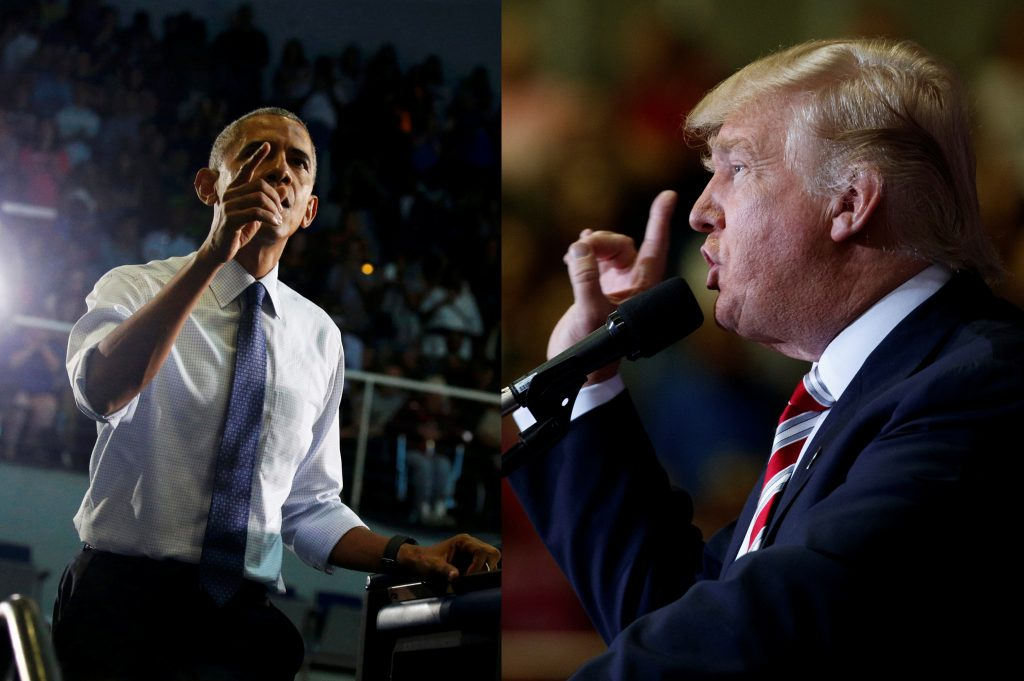This composite image shows President Barack Obama (L) and Donald Trump on the campaign trail on Thursday. (Reuters/Jonathan Ernst; AP Photo/Evan Vucci)