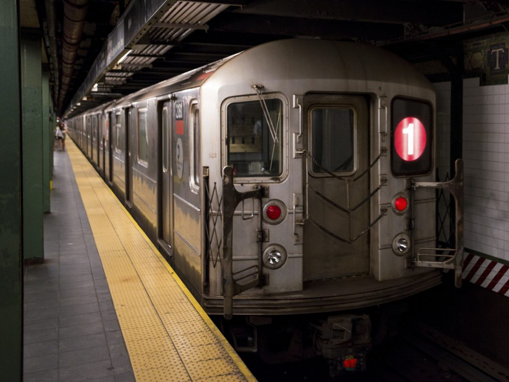 A 1 train at the Times Square subway station.