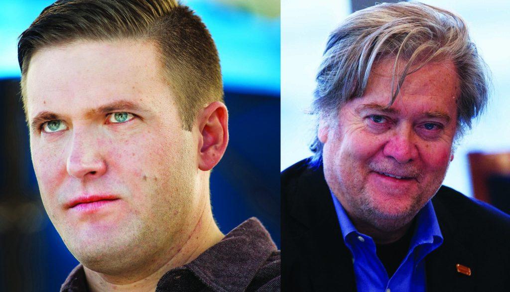This composite image shows Richard Spencer (L) and Steve Bannon  (Linda Davidson/The Washington Post via AP; AP Photo/ Evan Vucci)