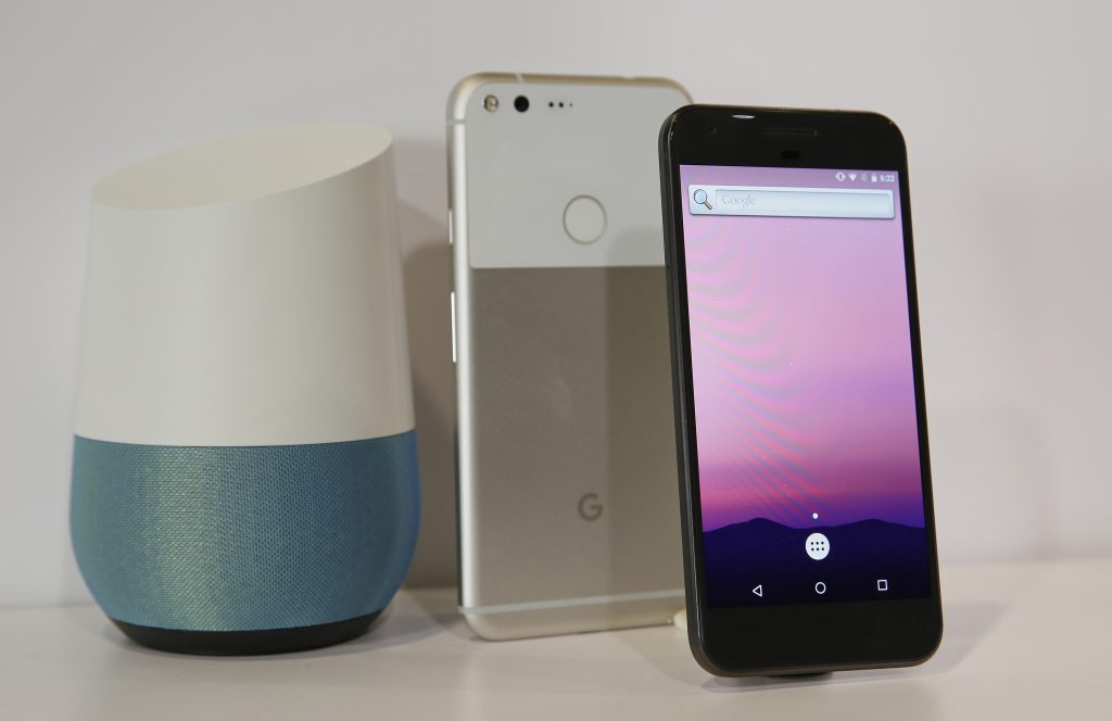 The new Google Pixel phone and a Google Home smart speaker, at a product event in San Francisco last month. (AP Photo/Eric Risberg)