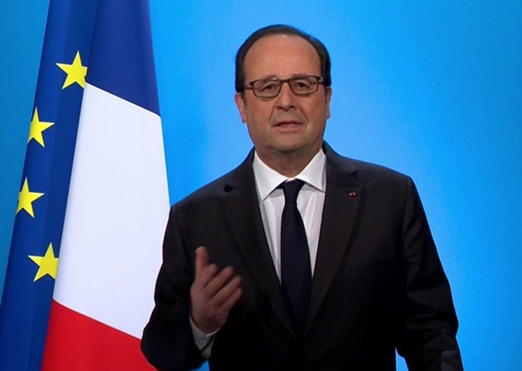 In this grab taken from video, French President Francois Hollande announces that he will not seek a second term, at the Elysee Palace, in Paris, Thursday. (TF1 via AP)