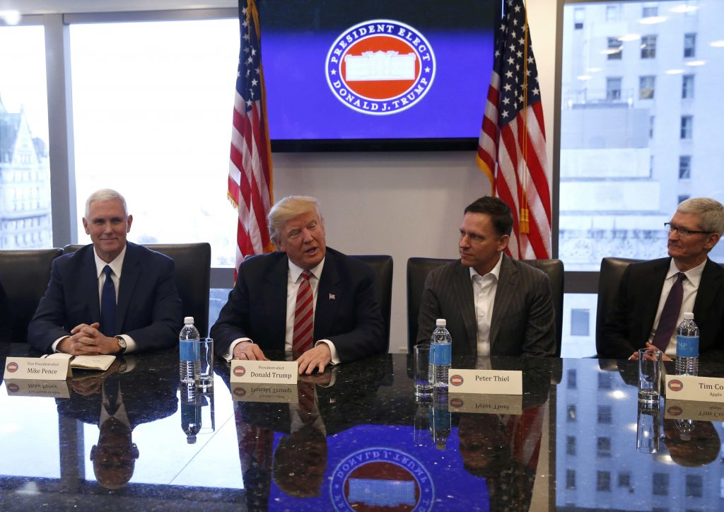 President-elect DonaldTrump(2nd L) sits with Vice President-elect Mike Pence (L), PayPal co-founder and Facebook board member Peter Thiel (2nd R), and Apple Inc. CEO Tim Cook (R) during a meeting with technology leaders atTrumpTower in Manhattan Wednesday. (Shannon Stapleton/Reuters)