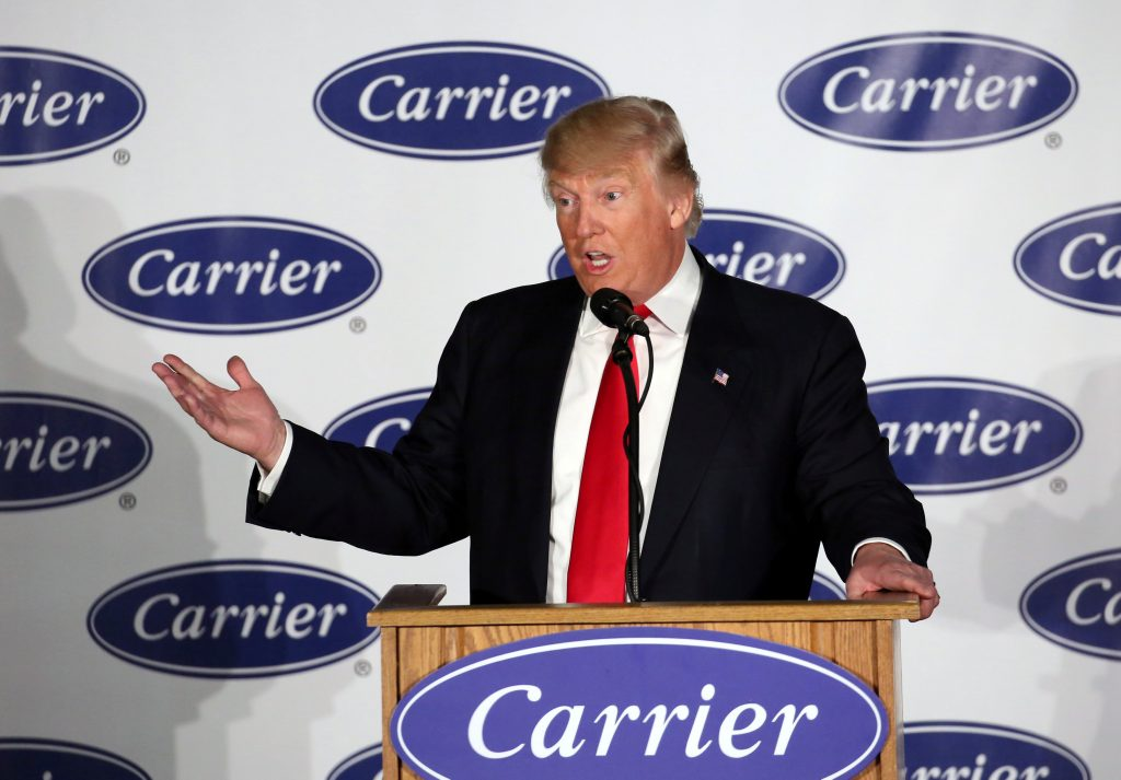 President-Elect Donald Trump speaks at event at Carrier HVAC plant in Indianapolis, Indiana. (Chris Bergin/Reuters)