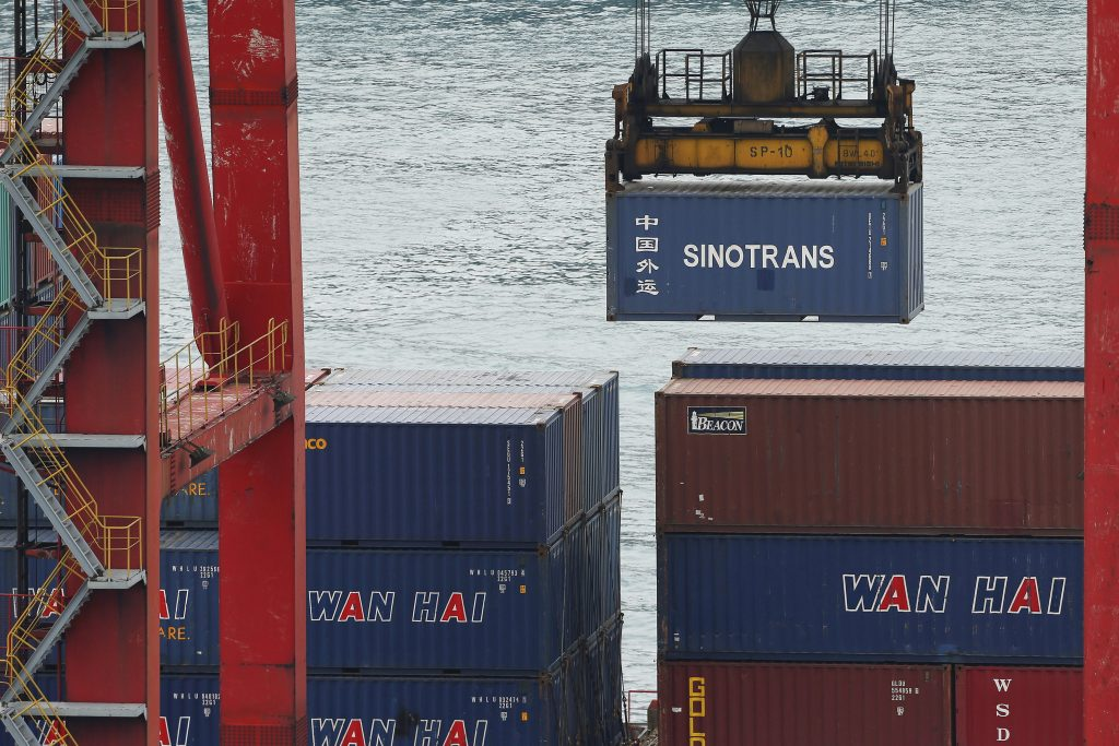 A crane lifts a container at Keelung port, northern Taiwan. (Tyrone Siu/Reuters/File Photo)