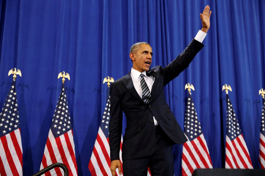 President Barack Obama waves to active military personnel after speaking about counterterrorism during his visit to MacDill Air Force Base in Tampa, Florida, on Tuesday.(Reuters/Kevin Lamarque)