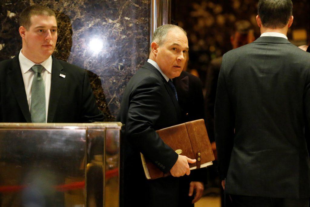 Scott Pruitt arrives at Trump Tower to meet with President-elect Donald Trump on Wednesday. (Reuters/Brendan McDermid)