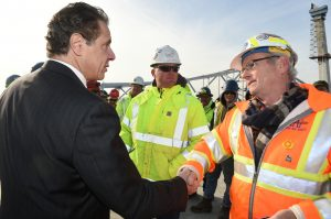 New York Governor Andrew M. Cuomo meets with construction workers on the enw Tappan Zee Bridge on Tuesday. (Kevin P. Coughlin/Office of Governor Andrew M. Cuomo)