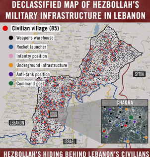 The IDF's target map of south Lebanon (IDF spokesperson)