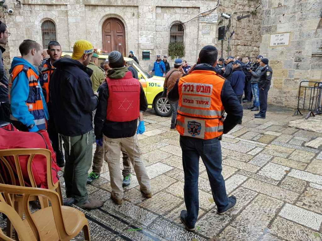 Security personnel near the scne of the attack in the Old City, Wednesday. (Hatzalah)
