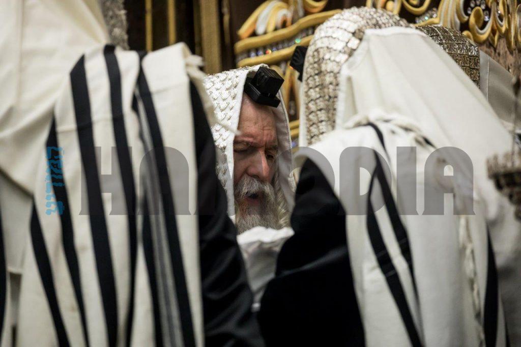 At the Bris of a grandson of the Bobov Rebbe, shlita, son of his son-in-law Harav Yisrael Blum. (JDN)