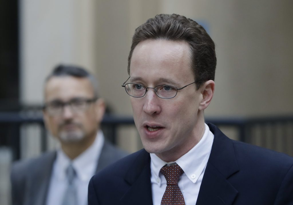 J. Alex Halderman, a cyber security expert and professor of Computer Science at the University of Michigan, addresses the media, Wednesday, Nov. 30, 2016 in Lansing, Mich. Michigan election officials are preparing to begin a recount of the state's presidential vote this week. (AP Photo/Carlos Osorio)