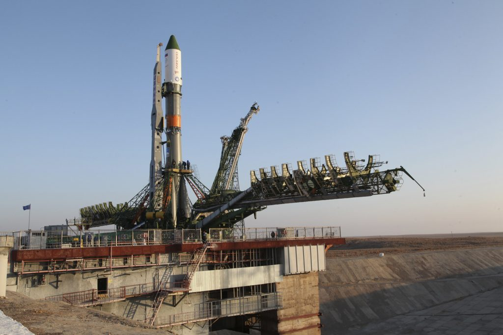 The Soyuz-FG rocket booster with the Progress MS-04 cargo ship is installed on a launch pad in Baikonur, Kazakhstan. (Sergei Sergeev/ Roscosmos Space Agency Press Service photo via AP)