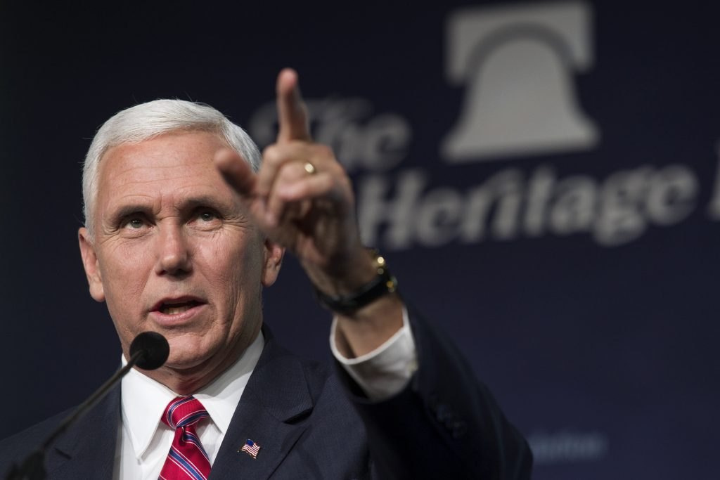 Vice President-elect Mike Pence addresses the Heritage Foundation's 2016 President's Club Meeting in Washington, Tuesday, Dec. 6, 2016. (AP Photo/Cliff Owen)