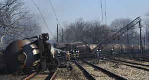 Firefighters at the scene of the train derailment (Petko Momchilov/Sky Pictures Bulgaria via AP)