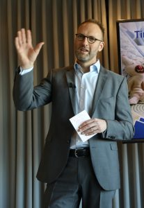 Outgoing LEGO CEO Joergen Vig Knudstorp at the press conference Tuesday. (Stine Bidstrup/Polfoto via AP)