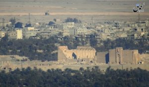 This image made from militant video posted online by the Aamaq News Agency, a media arm of Islamic State, shows a general view of the ancient ruins of the city of Palmyra on Sunday. (Militant Video via AP)