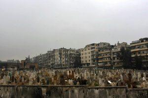 Agraveyard in east Aleppo. (SANA via AP)